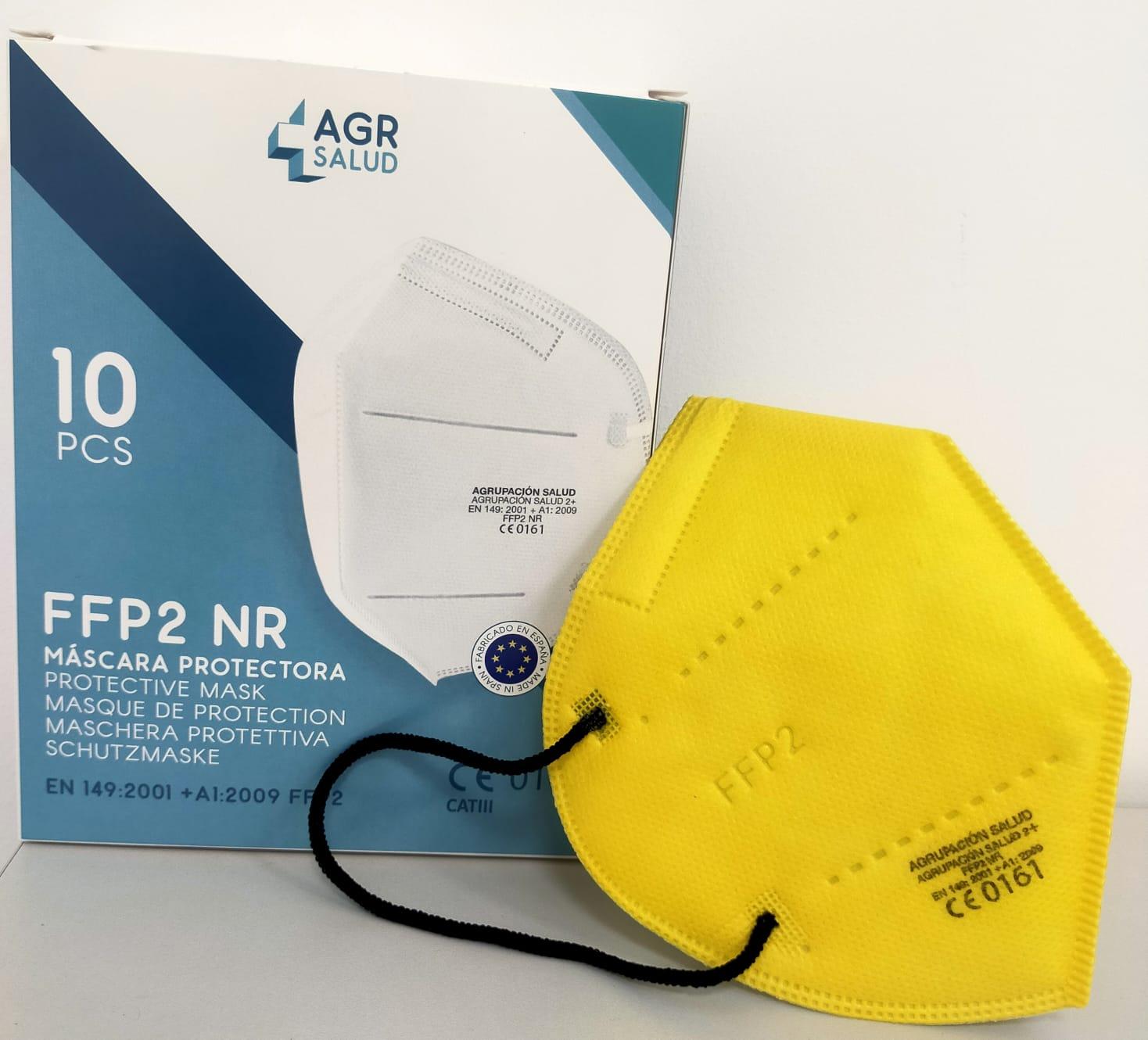 Mascarillas FFP2 Amarillas. Caja de 10 unidades.